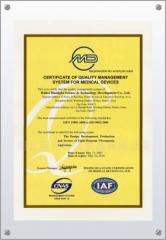 Certificate of Quality Management System for Medical Devices(ISO9001)